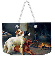 By The Fire Weekender Tote Bag by Alfred Duke