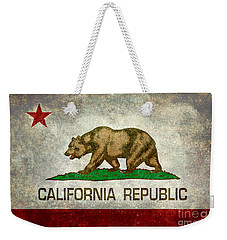 California Republic State Flag Retro Style Weekender Tote Bag by Bruce Stanfield