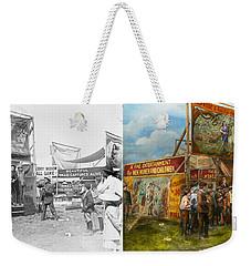 Carnival - Wild Rose And Rattlesnake Joe 1920 - Side By Side Weekender Tote Bag by Mike Savad