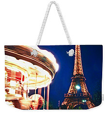 Carousel And Eiffel Tower Weekender Tote Bag by Elena Elisseeva