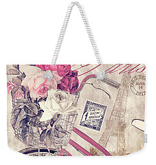 Carte Postale Bicycle Weekender Tote Bag by Mindy Sommers