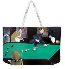 Cats Playing Pool Weekender Tote Bag by Gail Eisenfeld