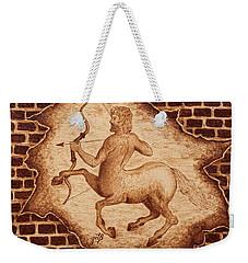 Centaur Hunting Original Coffee Painting Weekender Tote Bag by Georgeta Blanaru