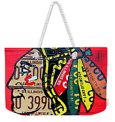 Chicago Blackhawks Hockey Team Vintage Logo Made From Old Recycled Illinois License Plates Red Weekender Tote Bag by Design Turnpike
