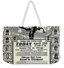Chicago Cub Poster Weekender Tote Bag by Jon Neidert