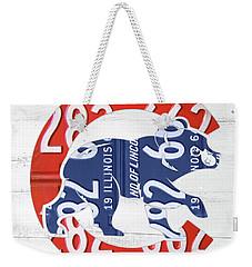 Chicago Cubs Retro Vintage Baseball Logo License Plate Art Weekender Tote Bag by Design Turnpike