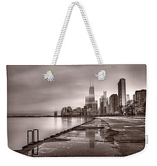 Chicago Foggy Lakefront Bw Weekender Tote Bag by Steve Gadomski
