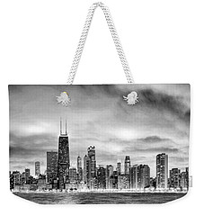 Chicago Gotham City Skyline Black And White Panorama Weekender Tote Bag by Christopher Arndt