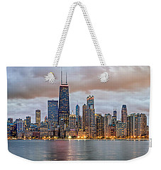 Chicago Skyline At Dusk Weekender Tote Bag by James Udall