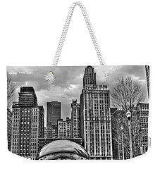 Chicago Skyline In Black And White Weekender Tote Bag by Tammy Wetzel