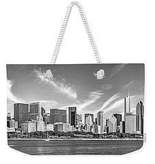 Chicago Skyline Panorama Black And White Weekender Tote Bag by Christopher Arndt