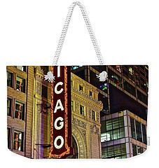 Chicago Theater Aglow Weekender Tote Bag by Frozen in Time Fine Art Photography