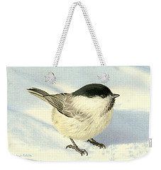 Chilly Chickadee Weekender Tote Bag by Sarah Batalka