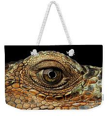 Closeup Eye Of Green Iguana, Looks Like A Dragon Weekender Tote Bag by Sergey Taran