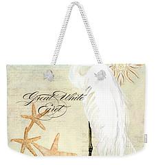 Coastal Waterways - Great White Egret 3 Weekender Tote Bag by Audrey Jeanne Roberts