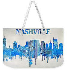 Colorful Nashville Skyline Silhouette Weekender Tote Bag by Dan Sproul