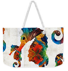 Colorful Seahorse Collage Art By Sharon Cummings Weekender Tote Bag by Sharon Cummings
