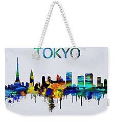 Colorful Tokyo Skyline Silhouette Weekender Tote Bag by Dan Sproul