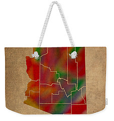 Counties Of Arizona Colorful Vibrant Watercolor State Map On Old Canvas Weekender Tote Bag by Design Turnpike