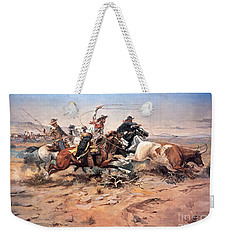 Cowboys Roping A Steer Weekender Tote Bag by Charles Marion Russell
