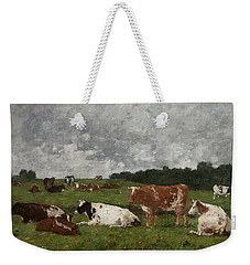 Cows At The Pasture Weekender Tote Bag by Eugene Louis Boudin