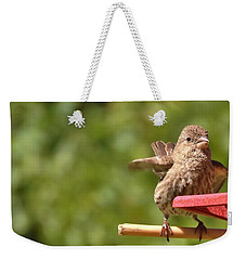 Crossbill Female At Feeder        Summer       Indiana Weekender Tote Bag by Rory Cubel