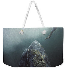 Curious Gray Whale And Tourist Weekender Tote Bag by Tui De Roy