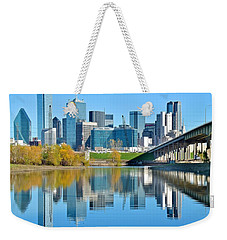 Dallas Above The Trinity River Weekender Tote Bag by Frozen in Time Fine Art Photography