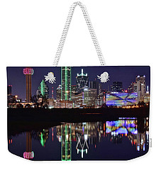 Dallas Reflecting At Night Weekender Tote Bag by Frozen in Time Fine Art Photography
