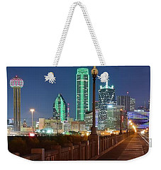 Dallas Street And Lights Weekender Tote Bag by Frozen in Time Fine Art Photography