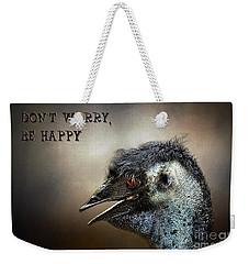 Don't Worry  Be Happy Weekender Tote Bag by Kaye Menner