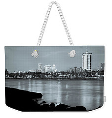 Downtown Tulsa Oklahoma - University Tower View - Black And White Weekender Tote Bag by Gregory Ballos