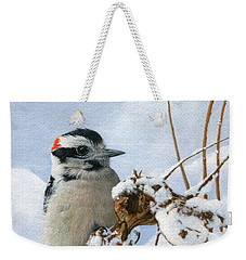 Downy Woodpecker  Weekender Tote Bag by Ken Everett