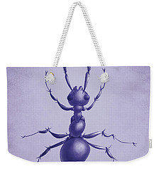 Drawn Purple Ant Weekender Tote Bag by Boriana Giormova