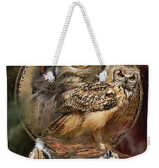 Dream Catcher - Spirit Of The Owl Weekender Tote Bag by Carol Cavalaris