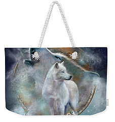 Dream Catcher - Spirit Of The White Wolf Weekender Tote Bag by Carol Cavalaris