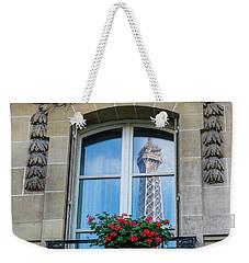 Eiffel Tower Paris Apartment Reflection Weekender Tote Bag by Mike Reid