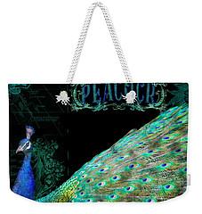 Elegant Peacock W Vintage Scrolls Typography 4 Weekender Tote Bag by Audrey Jeanne Roberts