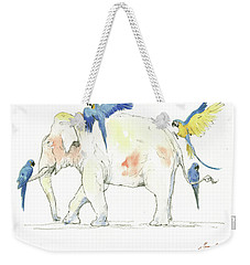Elephant And Parrots Weekender Tote Bag by Juan Bosco