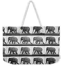 Elephant Walking Weekender Tote Bag by Eadweard Muybridge