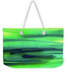 Emerald Flow Abstract Painting Weekender Tote Bag by Irina Sztukowski