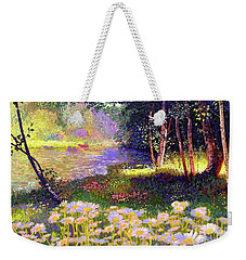 Enchanted By Daisies, Modern Impressionism, Wildflowers, Silver Birch, Aspen Weekender Tote Bag by Jane Small