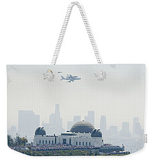 Endeavor Space Shuttle And Griffith Observatory Weekender Tote Bag by Pd