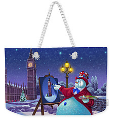 English Snowman Weekender Tote Bag by Michael Humphries