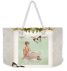 Fairy Teacups - Flutterbye Butterflies And English Rose Damask Weekender Tote Bag by Audrey Jeanne Roberts