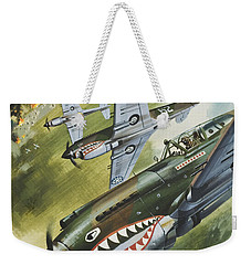 Famous Aircraft And Their Pilots Weekender Tote Bag by Wilf Hardy