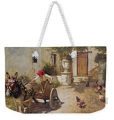 Farm Yard Scene Weekender Tote Bag by Henry Herbert La Thangue