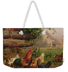 Farmyard Chickens Weekender Tote Bag by Carl Jutz