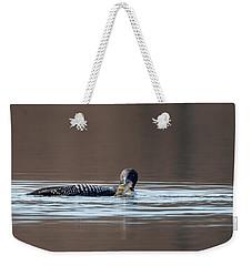 Feeding Common Loon Weekender Tote Bag by Bill Wakeley