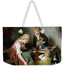 Feeding The Rabbits Weekender Tote Bag by Felix Schlesinger